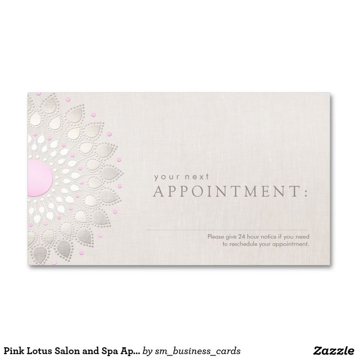 Pink Lotus Salon and Spa Appointment Card | Lotus