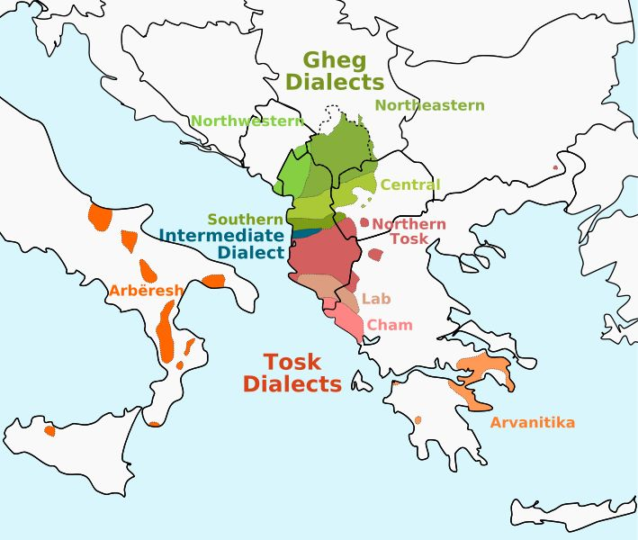 Albanian dialects   ***   There is an Italian cop at our city hall whose last name is Albanese...which means Albanian in Italian. He wasn't happy to hear about his possible family history.
