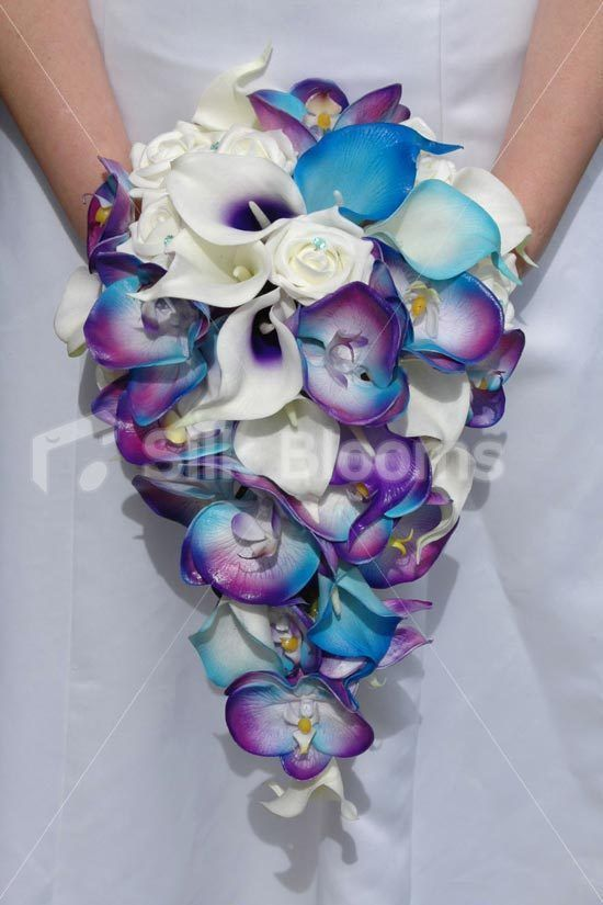 Galaxy Blue Orchid Lily Rose Artificial Cascade Tropical Bridal Wedding Bouquet