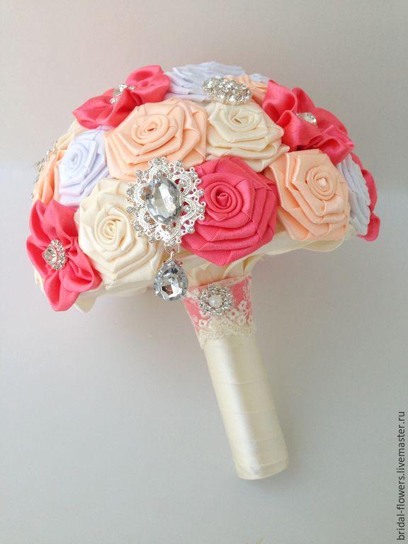 Купить Брошь букет невесты. - айвори, персиковый, коралловый, букет, букет для невесты, букет невесты