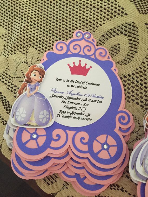 Sofia the first invites by TwoBoysNaTuTu on Etsy
