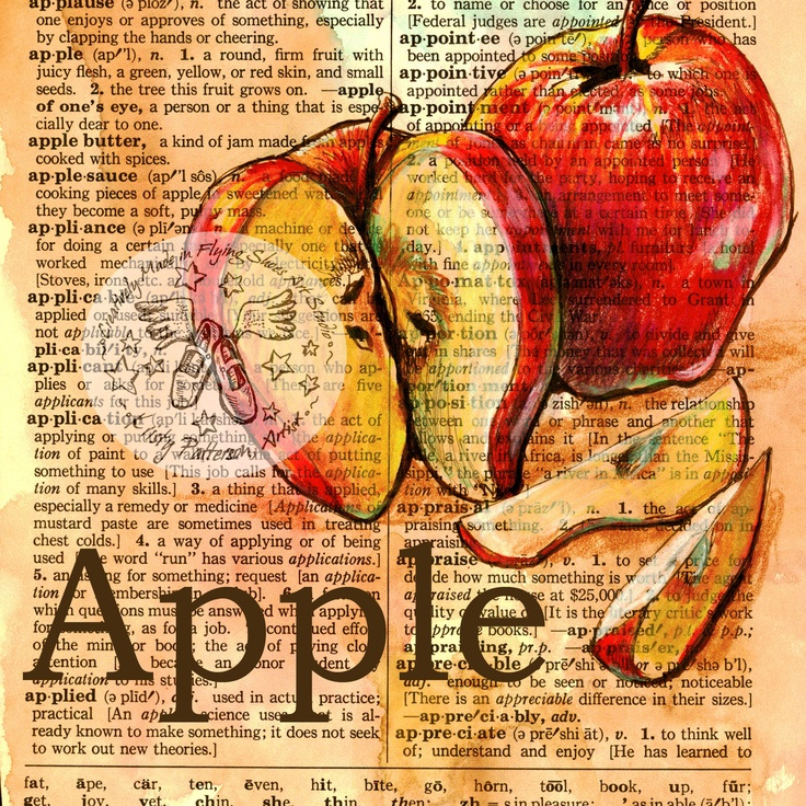 Apple Mixed Media Drawing on Distressed, Dictionary Page - Flying Shoes Art Studio - Etsy.com/shop/flyingshoes