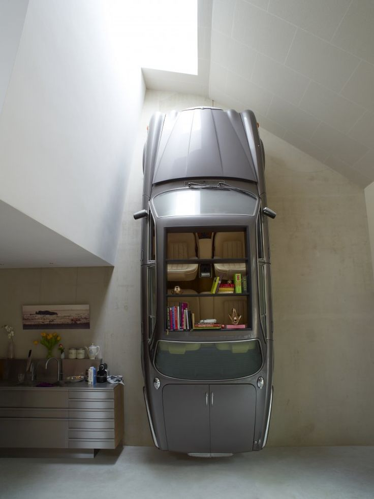 Why trade it in when it can be art?: Bookcase, Interior Design, Bookshelves, Ideas, Cars, Bookshelf, Dutch Mountain, House, Space