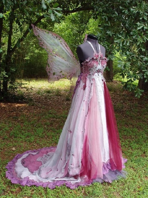 unique fairy style wedding and bridesmaid gowns
