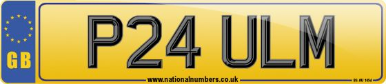 Personalised registration mark P24 ULM. A double digit prefix number plate, suitable for assignment to any roadworthy car, van, heavy goods vehicle, moped or motorcycle first manufactured on or after 01/08/1996