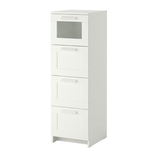 """4-drawer chest IKEA Smooth running drawers with pull-out stop. (good for storing hair stuff in bathroom for Clover) Width: 15 3/8 """"  Width of drawer: 12 1/4 """"  Depth: 16 1/8 """"    Width: 39 cm  Width of drawer: 31 cm  Depth: 41 cm $99"""
