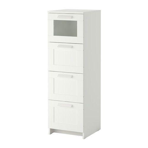 IKEA - BRIMNES, Lipasto, 4 laatikkoa, , Helposti avattavissa ja suljettavissa laatikoissa on pysäyttimet.