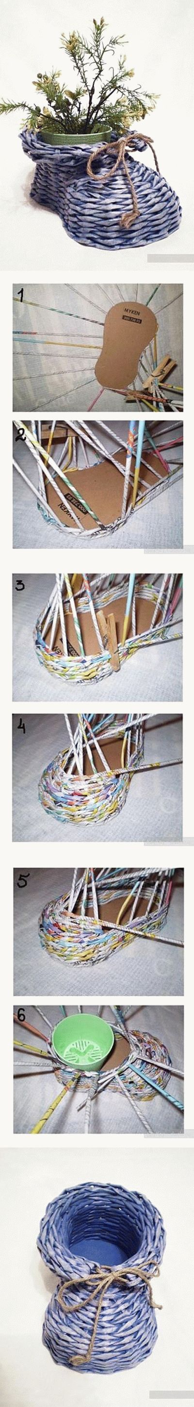 DIY Newpaper Roll Woven Shoe Vase