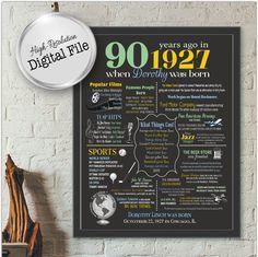 Personalized 90th Birthday Chalkboard by AndreasDesignStudio