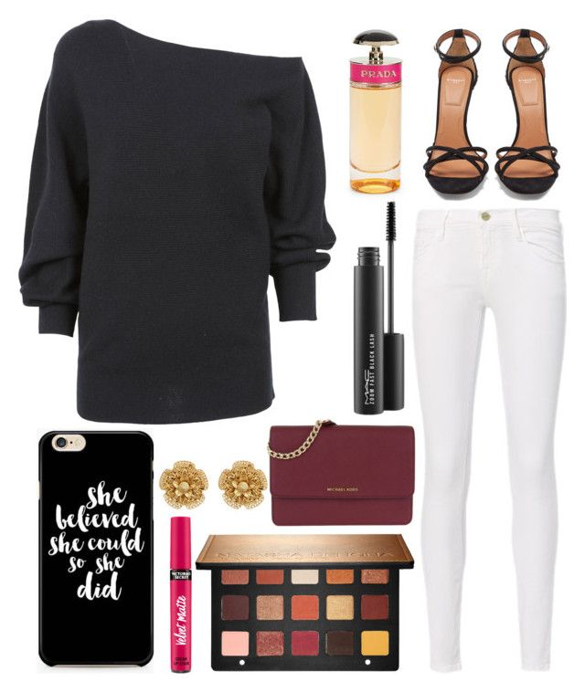 """""""Untitled #12176"""" by ohnadine on Polyvore featuring Frame, Theory, Sephora Collection, Givenchy, MICHAEL Michael Kors, Caso, Miriam Haskell, Victoria's Secret, MAC Cosmetics and Prada"""