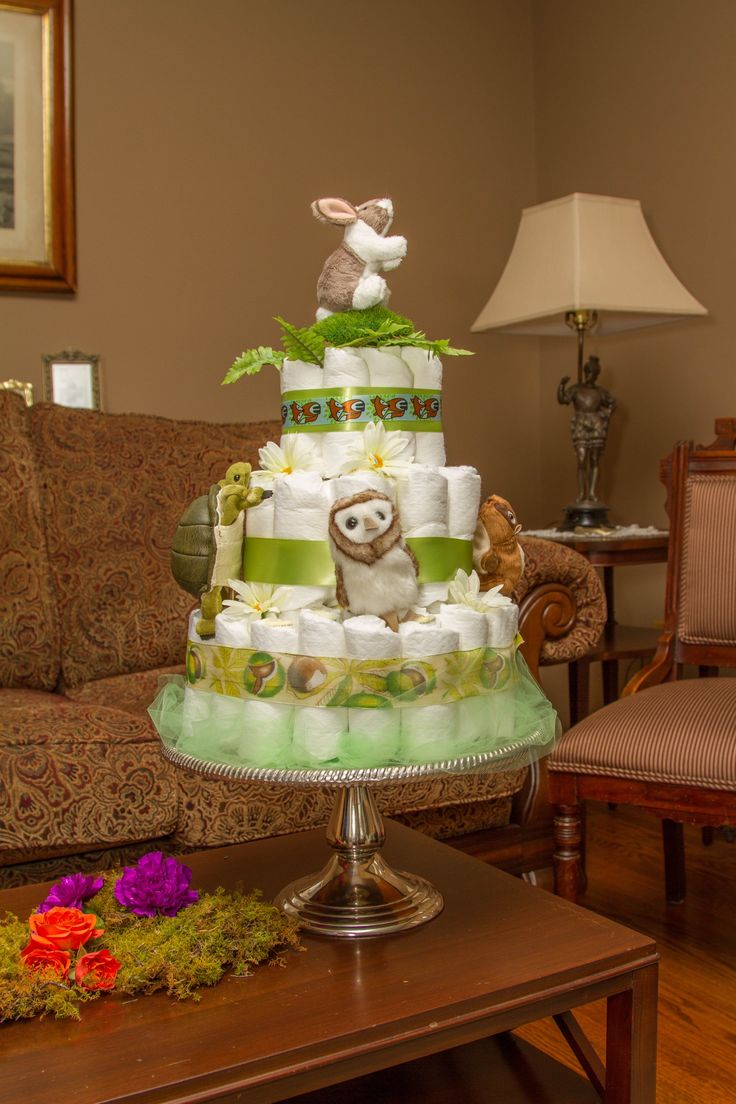 Diaper Cake for Woodland Baby Shower
