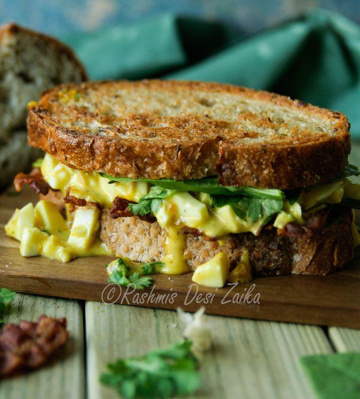 Spiced Egg Salad and Crispy Bacon Sandwich  #bacon #baconandeggs #eggsandwich