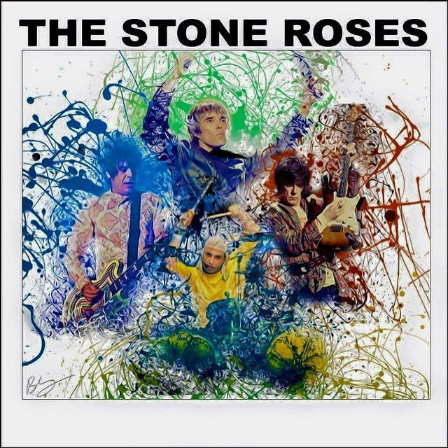 Pretty cool artwork made by a Stone Roses fan Happy Birthday Mani 53 today! #thestoneroses #garymounfield #ianbrown #johnsquire #reni #1989 #thestoneroses #manchester #90s