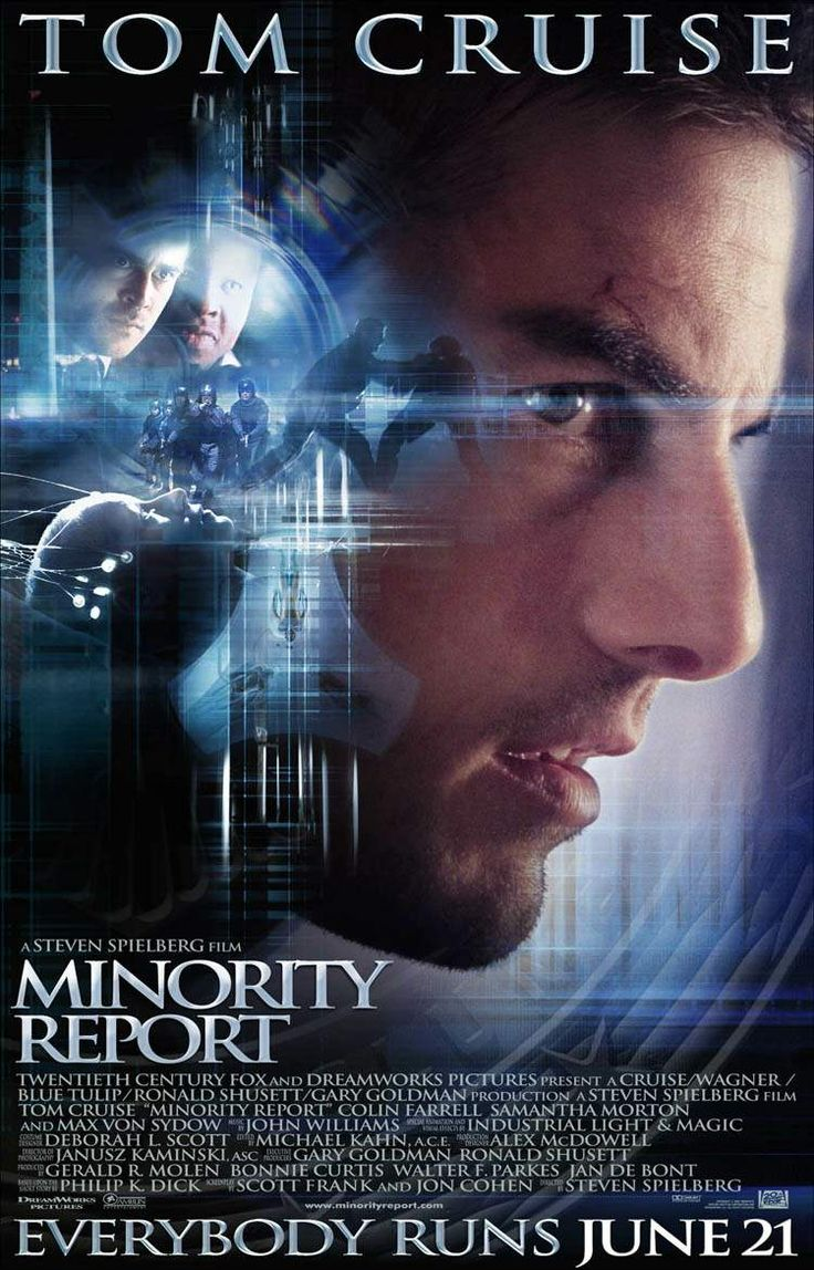 Minority Report (2002), Tom Cruise stars, Steven  Spielberg directs, Phillip K. Dick wrote the original science fiction short story. Poster. http://scottgronmark.blogspot.co.uk/2016/05/my-second-alternative-to-american-film.html