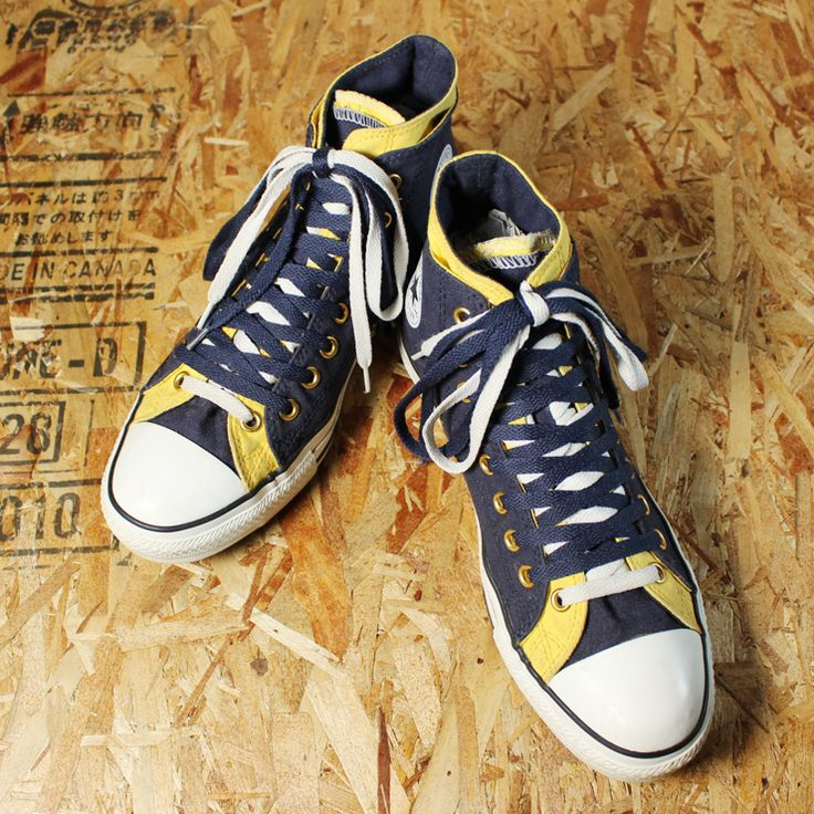 CONVERSE All Ster Double Upper/USED/ネイビー×イエロー/ダブルアッパーハイカットスニーカー/28.5cm