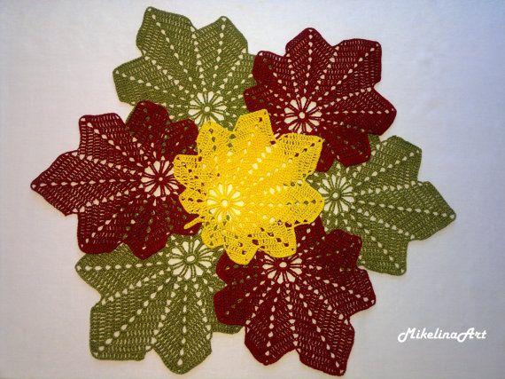Set of 7 Crochet Leaf Napkins, Crochet Coasters, Olive, Burgundy & Yellow Colours, 100% Cotton.