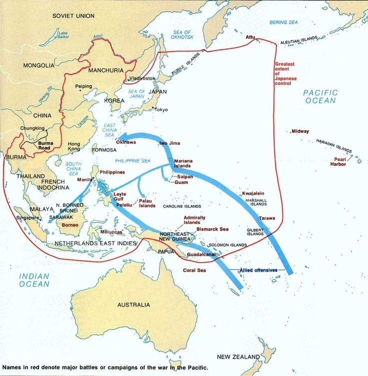 Map - WWII ~ Major battles or campaigns of the war in the Pacific