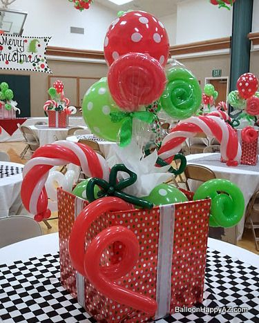 "These ""candy-filled"" boxes were an eye-popping holiday balloon design! Suckers, candy canes, lollipops,... yum!"