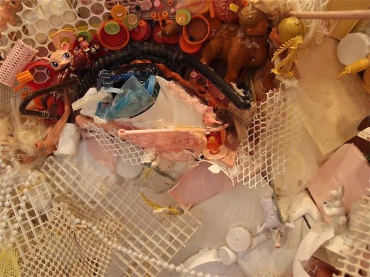 Tom Deininger, detail of trash-self-portrait