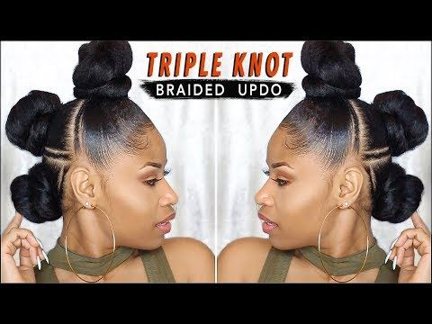 EDGY TRIPLE-KNOT BRAIDED UPDO ➟ natural hair tutorial [Video] - Black Hair Information