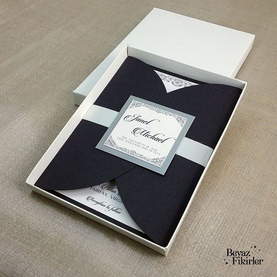 Boxed Dark Blue Envelope  Wedding Invitation 25 by Beyazfikirler
