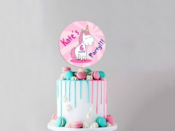 Pleasant 6 Month Birthday Cake Topper Custom Name Uv Print Cake Topper Personalised Birthday Cards Veneteletsinfo