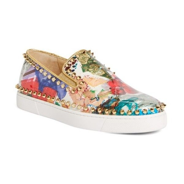 Women's Christian Louboutin Pik Boat Slip-On Sneaker ($1,045) ❤ liked on Polyvore featuring shoes, sneakers, gold multi, christian louboutin shoes, spiked sneakers, slip on shoes, slip on trainers and spike shoes