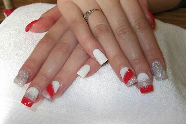 LCN #gelnails #bling #silver #red #white #LCNproductsonly