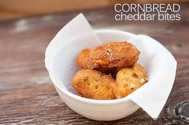 Cheddar Cornbread Bites from Buns In My Oven