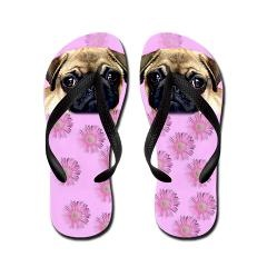 Pug Dog Flip Flops from Ritmo Boxer Designs
