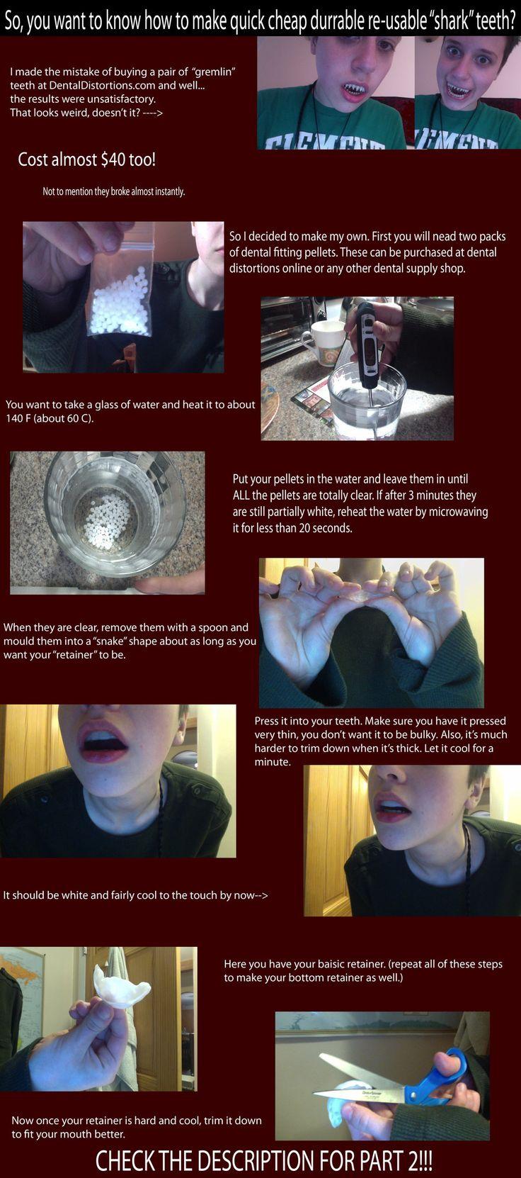 Cheap re-usable fake 'shark' teeth tutorial part 1 by Faxen.deviantart.com on @deviantART