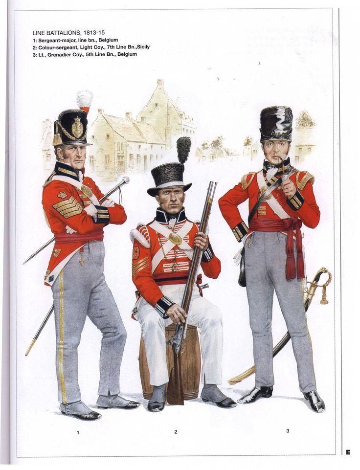 King's German Legion, line battalions, 1813 - 1815.  Sergeant major, Belgium, Colour sergeant, Sicily and Grenadier Lieutenant, Belgium.