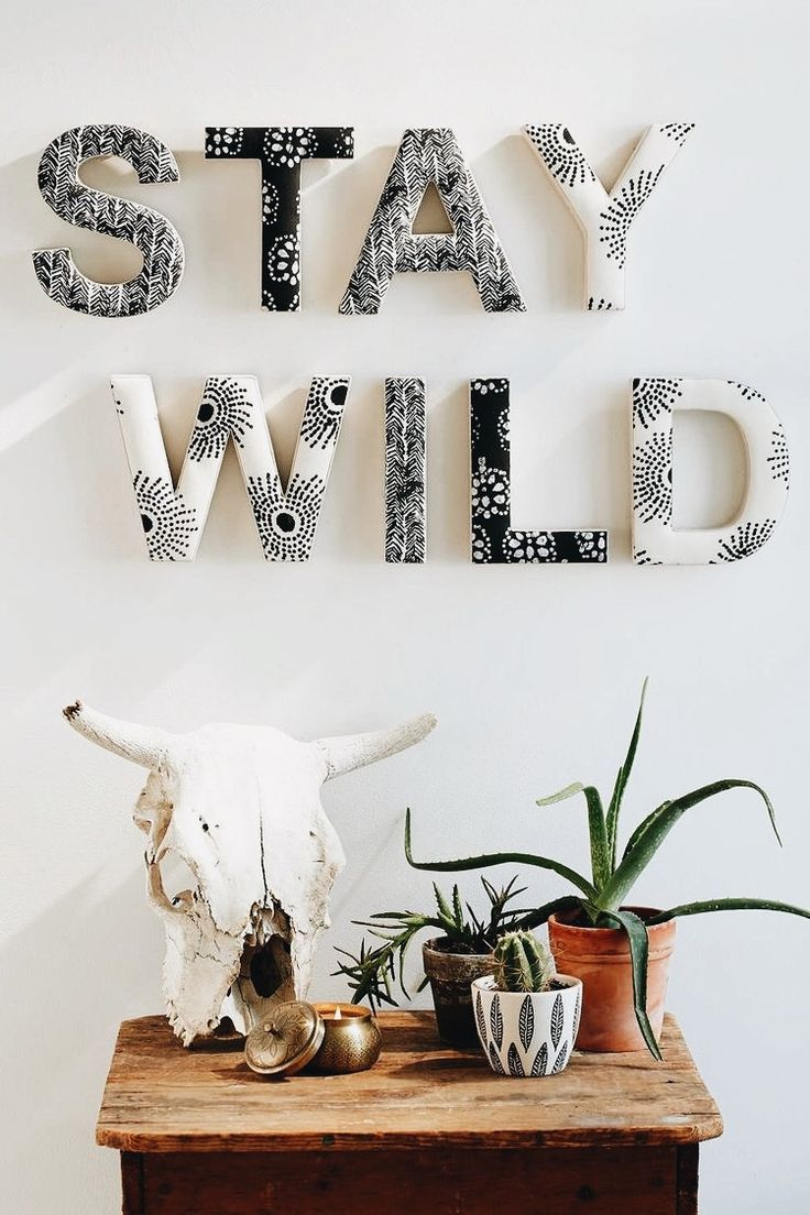 """Words """"Stay Wild"""" wall display"""