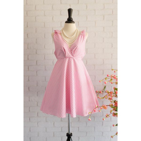 Pink Dress Pink Sundress Roman Dress Style Pink Plaid Dress Empire... ($47) ❤ liked on Polyvore featuring dresses, silver, women's clothing, pink tartan dress, pink sun dress, plaid bridesmaid dresses, sundress dresses and pink dress