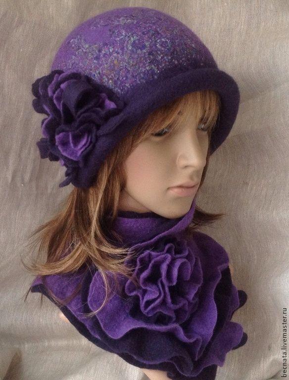 """Купить Шляпка женская. Шапочка """" Вивьен Ли...""""Войлок - тёмно-фиолетовый, головной убор"""