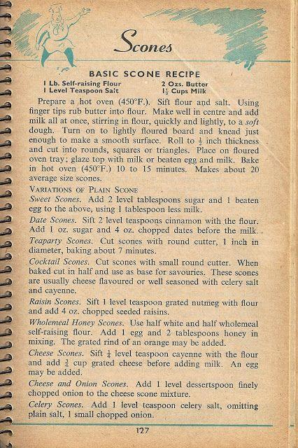 ※ Vintage Scone Recipe (1955).