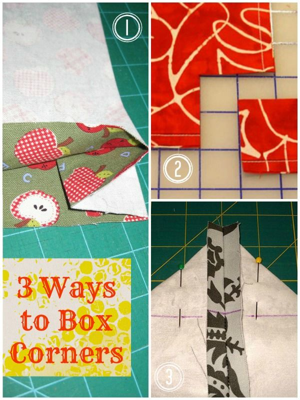 When it comes to box corners, there is kind of blankness that overcomes me. How do you really sew a box corner? I have come to the conclusion that there are 3 basic Box Corners