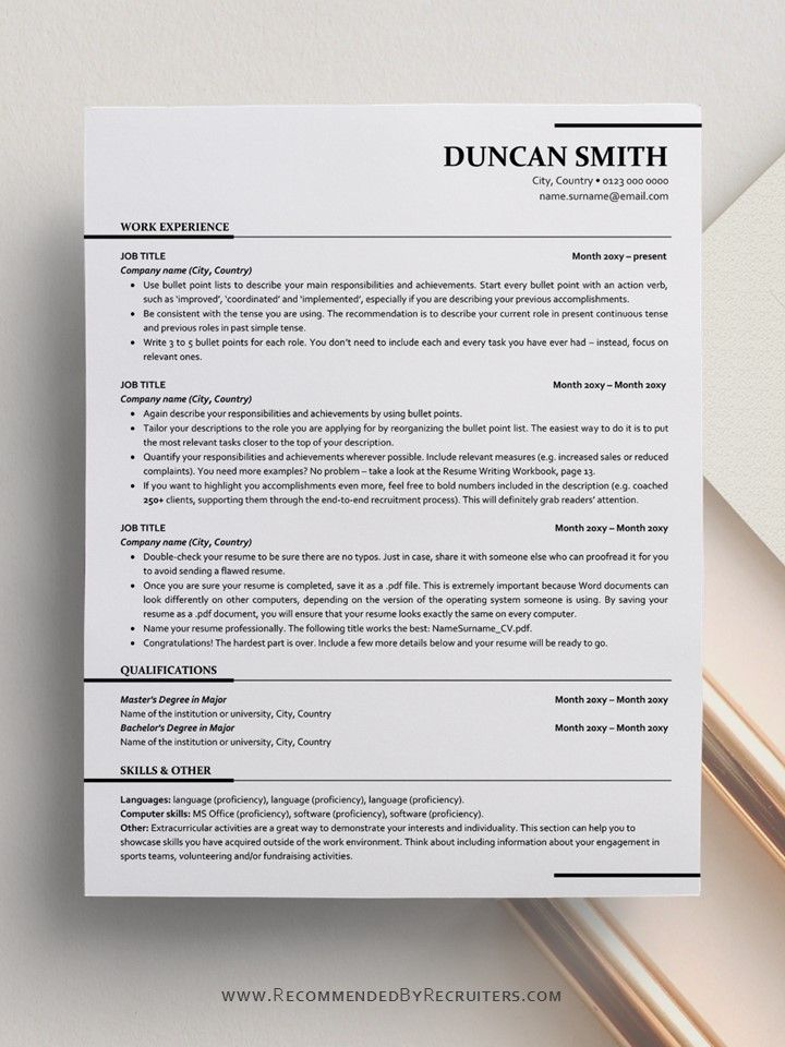 Ats Friendly Resume Template Instant Download One And Two Etsy In 2020 Resume Template Resume Templates Free Resume Template Word