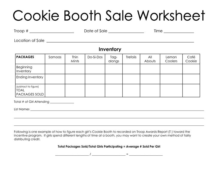 girl scout cookie booth worksheet | Cookie Booth Sale Worksheet