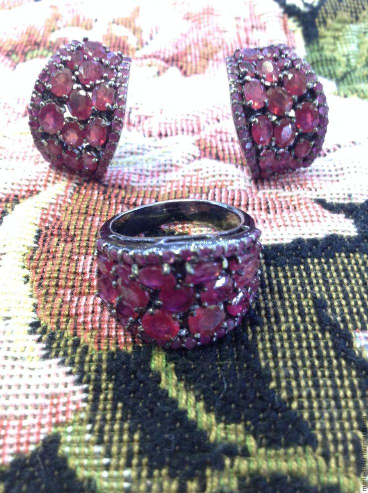 """Купить """"Waiting for Christmas"""". Серьги и кольцо с рубинами в черном серебре - бордовый, роскошный подарок"""