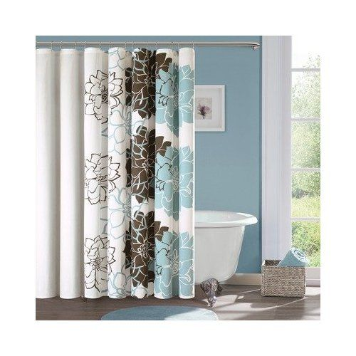 brown ans blue shower curtain