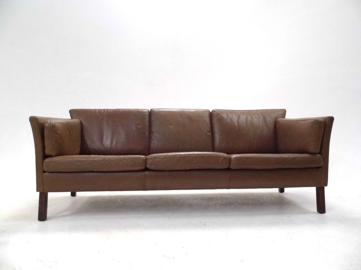 Danish Olive Brown Leather 3 Seater Sofa Midcentury 1960s
