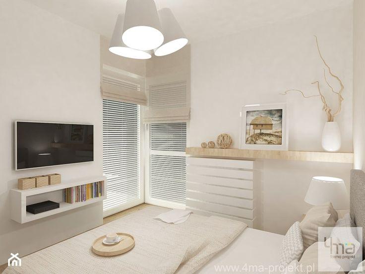 Projekt mieszkania na Bielanach o pow. 51,5 m2. - Średnia sypialnia małżeńska z balkonem / tarasem, styl nowoczesny - zdjęcie od 4ma projekt