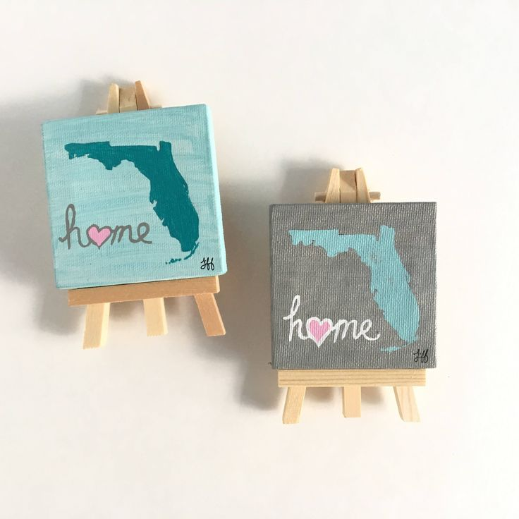 Mini Canvas Magnet Florida Blue Gray State Heart Local Home Silhouette Born House Small Wooden Easel 3 inch Square Art Original Handpainted. by artbytiffanyjay on Etsy https://www.etsy.com/listing/558051195/mini-canvas-magnet-florida-blue-gray