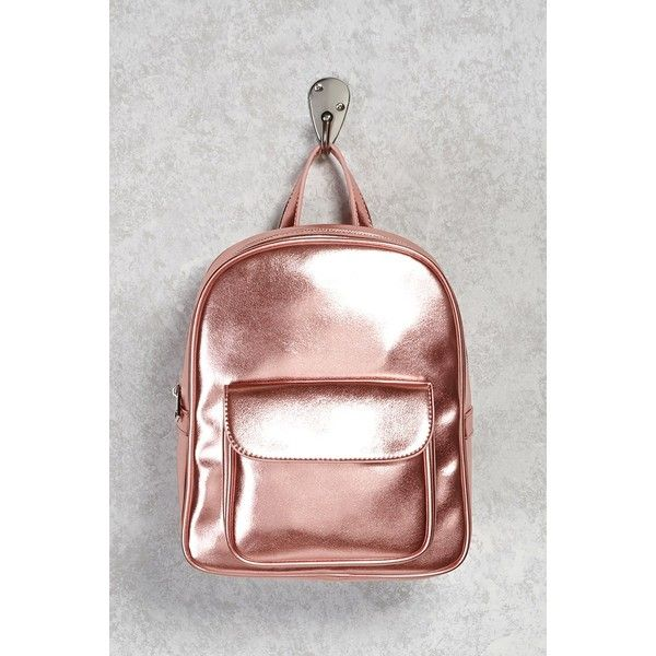 Forever21 Metallic Faux Leather Backpack ($28) ❤ liked on Polyvore featuring bags, backpacks, pink, faux leather rucksack, forever 21 backpacks, white faux leather backpack, pink bag and backpack bags