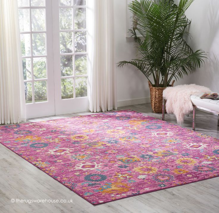 New Flower Pion Fuchsia Rug A Pink Fl With Colourful Design