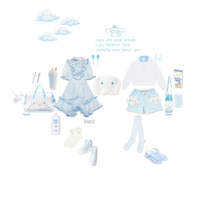 """""""Cloudy Cinnamoroll 💙☁️💦"""" by moon-mermaidens ❤ liked on Polyvore featuring Melissa, Vhernier, sOUP and Reger by Janet Reger"""