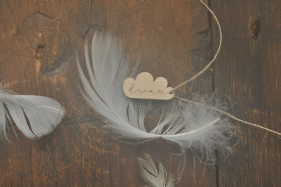 cloud tag with 'dream' word engraved wooden cloud by forCRAFT