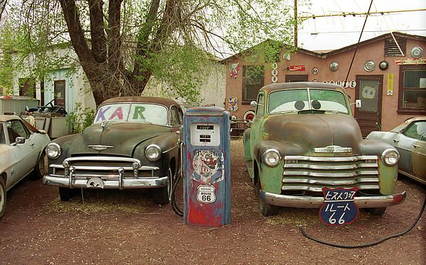 """Route 66 - Classic cars at the Snow Cap Drive-In, Seligman, Arizona """"The Fine Art Photography of Frank Romeo."""""""