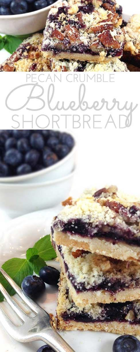 Pecan Crumble Blueberry Shortbread: buttery shortbread bars layered with blueberries and crunchy pecan crumble topping. Easy homemade dessert for all the blueberry lovers!